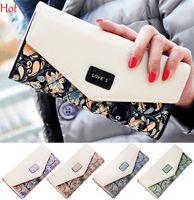 Wholesale Envelope Card Wallet Purse - Envelope Bags Women Hasp Zipper Leather Wallets Flower 3 Fold Floral Pu Leather Lady Purse Long Ladies Mini Hand Clutch Coin Purses SV028895