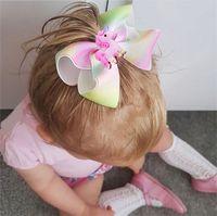 Wholesale Animal Grosgrain Ribbon - Unicorn Baby Hair Accessories Cartoon Bow Girls Hairpins Grosgrain Ribbons Childrens Kids Barrettes Princess Hair Clips C2443