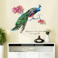 Wholesale Peacock Wall Sticker Decals - DIY Chinese Style Peacock TV Background Wall Decoration Removable Wall Stickers Animal decal sticking sticker