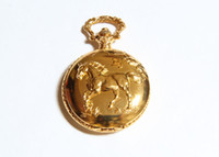 Wholesale Chinese Horse Bronzes - new large Chinese Zodiac Sign Horse Gold retro pocket watch necklace sweater chain fashion jewelry wholesale fashion watch