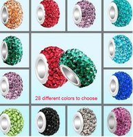 Wholesale Cheap Large Holed Beads - Silver Large Hole European Beads Cheap Charms Crystal Rhinestone Spacer Jewelry Making Beads 12mm 15mm 20 Colors