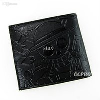 Wholesale Skull Purses Wallets Wholesale - PU wallet purse with carved printings of anime One Piece Luffy's skull black!