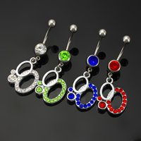 Wholesale Sexy Sporty Girls - 2016 Hot Sale 316L Stainless Steel 8 Design Belly Button Ring Belly Piercing Jewelry 14G Sexy Nelly Button Piercing Navel Ring Women 10PCS