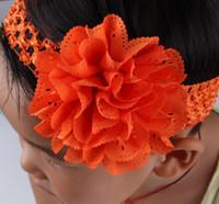 flores de crochet para faixas de bebê venda por atacado-Julgamento Bebê Crochet Headbands Com Chiffon Ilhós Flor Elástica Hairbands Crianças Acessórios Para o Cabelo Menina de Crochê faixa de Cabelo de Natal
