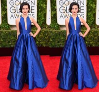 goldene linie kleid großhandel-72. Golden Globe Julia Goldani Telles Crew Taft Elegante A-Linie Royal Blue Evening Prom Party Celebrity Kleider