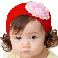 Wholesale Baby Girl Hats Wig - Baby Girls Wig Beanies Infant Hats Children Kids Lace Flower Design Solid Color Spring Autumn Knitted Cap Skullcap MZ0588