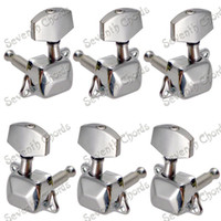 Wholesale Tuners For Acoustic Machines - A Set Chrome Semiclosed Tuning Pegs keys for Acoustic Guitar Tuners Machine Heads With Big Square handle   Guitar Parts
