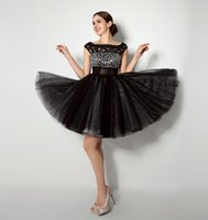 Wholesale Cap Sleeve Beaded Cocktail Dress - Little Black Cocktail Dress With Cap Sleeves Rhinestones Beaded Appliques Homecoming Dresses Cheap Graduation Club Party Gowns In Stock