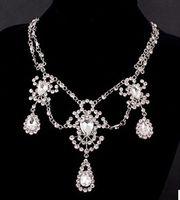 ingrosso matrimonio 88-goccia di cristallo bianco nozze sposa set orecchini necklce (88) hfhf