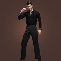 Wholesale Tanga Pants - Male's Latin Dance Suit Black Long Sleeves Slims Shirt Pants Modern Rumba Cha-cha Tanga Dancing Clothes Stage Wear tl803
