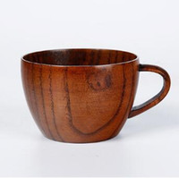 Wholesale Wooden Handle Bars - Wooden Mugs Bar Cup with Handle Coffee Tea Water Cups For Travel Wine Beer Milk Wood Mugs Milk Drinkware CCA8128 50pcs