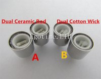 Wholesale Dct Wick - Dual wax coils for cannon vaporizer atomizer vape double coil DCT Cax oil Ceramic rod Cotton Wick wax Glass metal vase bowling cartomizer