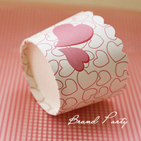 Wholesale Greaseproof Cupcake Liners Bulk - PINK HEART Cupcake Wrappers bulk 100pcs lot High temperature baking greaseproof paper muffin cupcake liners cases wrappers