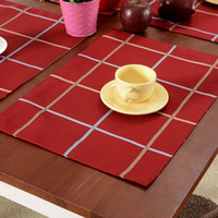Wholesale Red Placemats - Red Plaid Christmas Table Cloth Placemats European Party Art Decor Cloth Mats Pads Wedding Table Ornaments SD733