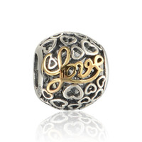 Wholesale Pave Flower - Love beads pave charm wholesale S925 sterling silver fits for pandora style charms bracelets free shipping LW549H8