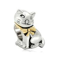 encantos gato metal venda por atacado-Moda Jóias Big Hole Estilo Europeu 2 tons banhados animais gato metal talão encantos para pulseira