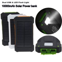 Wholesale External Flash Battery - 10000mAh Solar Power Bank Outdoor External Charger Battery LED Flash Light Dual USB For iPhone 6s iPad Mini4 Galaxy Note 5 Smartphone