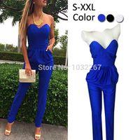 Wholesale E Pocket - 1510 Women Rompers Jumpsuit Sexy Blue Pockets Slim Pants Bodysuit Sleeveless Jumpsuits Plus Size S-XXL Macacao Feminino E Macaquinhos