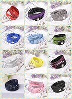 tennis flowers Canada - Around 2 laps 6 Layer Wrap Bracelets Slake Leather Bracelets for women With Sparkling Crystals Couple Jewelry Mix 12 color 100pcs