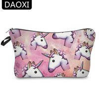 Barato Sacolas De Unicórnio-DAOXI Women Cosmetic Bags 3D Printing Unicorn para Traveling Storage Necessaries