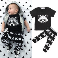 Summer squirrel shirts - NWT Cute Cartoon squirrel XX Baby Girls Boys Outfits Set Summer Sets Boy Cotton Tops Harem Pants Suits Kid INS Cute Shirts