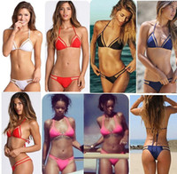 Wholesale Micro Bikinis For Women - 2016 new triangular summer style sexy swimsuit swimwear micro mini bikini beach bandage Mesh bathing biquini for women brazilian