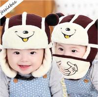 Wholesale Children Fleece Hat Scarf Wholesale - Cartoon Baby Infant Scarf Cap Mask Girls Child Boys Kids Lei Fen Hat With Face Mask Winter Warm Fleece plush