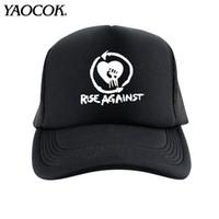 Wholesale Custom Cap Brims - Wholesale FASHION Casual Hip Hop Logo Custom rise against Punk Rock Band Cool Mens Knit Hats And Snapback Caps Sport Brand Winter