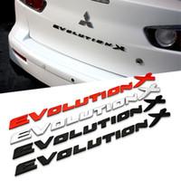 Wholesale Evolution X - Black Red EVO EVOLUTION X Chrome ABS Car Emblems Stickers for Mitsubishi LANCER-EX Accessoreis Car Tail Body Exterior Decoration 1762