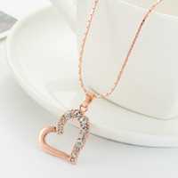 Wholesale Suit Cash - Korean jewelry hearts full diamond glossy big clavicle chain necklace female models suit factory direct cash