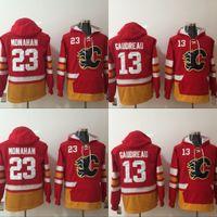 Wholesale Black Jacket Men Flame - Mens Calgary Flames Hoodies Jersey 13 Johnny Gaudreau 23 Sean Monahan Sweatshirts Winter Jacket Red Free Shipping
