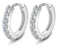 Wholesale Crystal Earrings Single - 925 Sterling Silver Round Circle Hoop Earrings Fashion Jewelry Retro Single Row Zircon Diamond Crystal Super Blink Earring for Women Girls