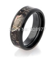 Wholesale Tree Fashion Ring - Wholesale-Promotions 2015 New Design 8mm Titanium Black Zirconium MAX-4 Real Tree Camo Ring Wedding Band Men Fashion Rings Anel Anillos