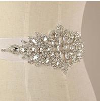 Wholesale Wedding Dress Sashes Wholesale - 2016 New Arrival Organza Ribbon Handmade Crystals Rhinestone Bridal Belt Wedding Dress Sash Real Photos