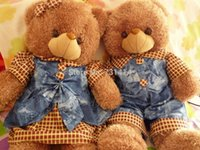 Wholesale Lovely Couple Teddy Bear - Wholesale-6pcsx60 80 100cm jeans teddy couple comfortable plush material stuffed lovely jeans teddy bear lovers toy birthday gifts