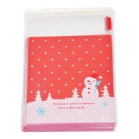 полиэтиленовые пакеты оптовых-Wholesale-50Sets Self Adhesive Seal Plastic Bags Red Christmas Snowman Christmas Gift Packaging Decoration