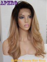 Wholesale Glueless Full Lace Wigs Blonde - Unprocessed 6A Brazilian Hair Silk Top Full Lace Human Hair Ombre Wigs 130%Density Glueless Blonde Front Lace Wigs With Dark Roots