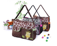 Wholesale Zebra Design Bags - 3 Design animal diaper bags mummy bag nappy bag zebra or giraffe babyboom multifunctional fashion baby Baby articles storage bags B001