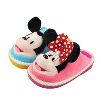 Wholesale Kawaii Cartoon Slippers - Wholesale-Boy Girl Winter Warm Minnie Mouse Slippers Kawaii 3D House Plush Stuffed Slippers Home Shoes Fashion Cartoon Shoes