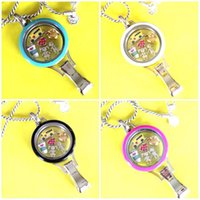 Wholesale Fair Gift - 2017 Hot Sale Stainless Steel Colored Twist Lanyard Locket with 6 Charms One 80cm Chain for yiwu fair FF191