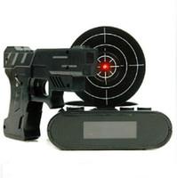 Wholesale Gun Shot Alarm Clock - Novelty Kids Bedroom Clocks Toy LCD Laser Gun Shooting Target Wake UP Alarm Desk Clock Gadget Fun Toy with retail box