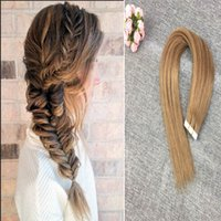 Wholesale Blonde Glue Hair Extensions - Tape in Hair Extensions #8 Light Brown Real Hair Tape Extensions Balayage Glue in Hair 16-20 inch for Beauty Girls