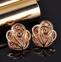 2014 New Fashion Hollow rosa fascino fiori imitano diamanti arrings oro dell'annata XY-E227