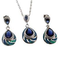 saphir-schmuck-sets verkauf großhandel-925 Sterling Silber Schmuck Sets Natürliche Opal Teardrop Blue Sapphire Heißer Verkauf Anhänger Halskette Ohrring Weihnachtsgeschenke OPJS2
