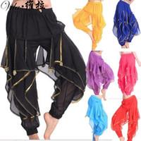 dans kostümleri pantolon toptan satış-Oryantal Dans Harem Pantolon Pantolon Tribal Hint Bollywood Arapça Dans Kostüm