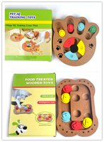 Wholesale Iq Style - Free shipping new style pet dog puppy IQ training toys food treated wooden toys bone and paw style