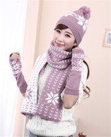 Wholesale Winter Set Design - Wholesale-Christmas Gift warm Snowflake Design Knitting Winter Women Snow Hats Glove Scarf Three Pieces 3Pcs Set JD-279