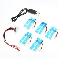 Wholesale Lipo Batteries For Rc Planes - 5Pcs RC Quadcopter 3.7V 600mAh RC Lipo Battery Plane Spare Accessory + usb Charger Cable for Syma X5C X5A