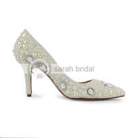 Kaufen Sie Im Grosshandel Elfenbein Perle High Heel Schuh 2019 Zum