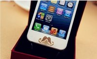 Wholesale Sexy Home Button Iphone - Wholesale-Creative Diamond Sexy Beard Cellphone Keypad Stickers Pearl Mobile Phone Home Button Stickers For Iphone 4 4S 5 Free Shipping